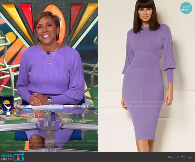 Ensley Sweater and London Sweater Skirt - Eva Mendes Collection by New York & Company worn by Robin Roberts  on Good Morning America