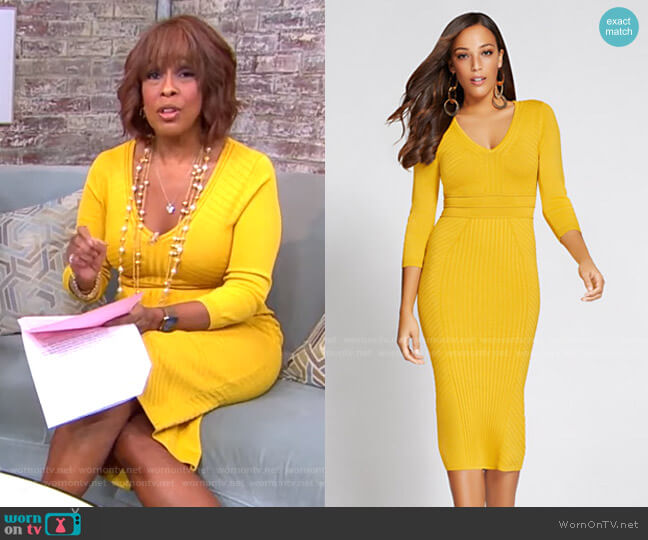 V-Neck Sweater Dress - Gabrielle Union Collection by New York & Company worn by Gayle King  on CBS This Morning