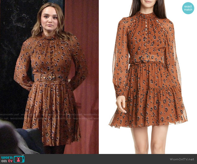 Nicholas Leopard Print Long Sleeve Belted Silk Minidress worn by Summer Newman (Hunter King) on The Young & the Restless