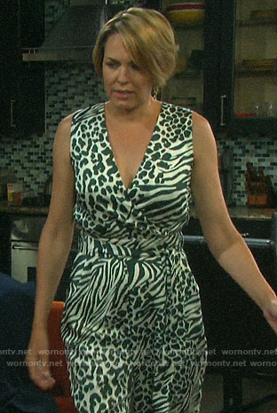 Nicole's animal print jumpsuit on Days of our Lives