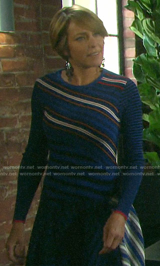 Nicole's blue mixed stripe dress on Days of our Lives