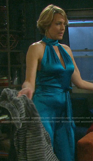 Nicole's blue NYE jumpsuit on Days of our Lives