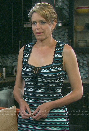 Nicole's striped tie keyhole dress on Days of our Lives