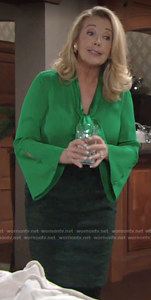 Nikki's green bell-sleeve tie-neck blouse on The Young and the Restless