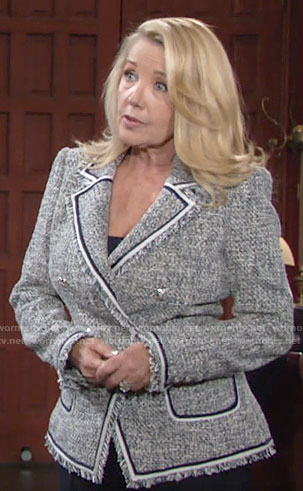 Nikki's tweed double-breasted blazer on The Young and the Restless