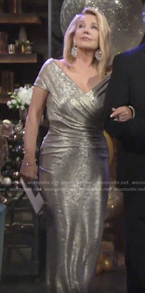 Nikki's metallic NYE gown on The Young and the Restless