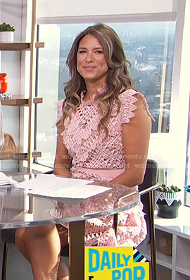 Nikki Novak's pink lace mini dress on E! News Daily Pop