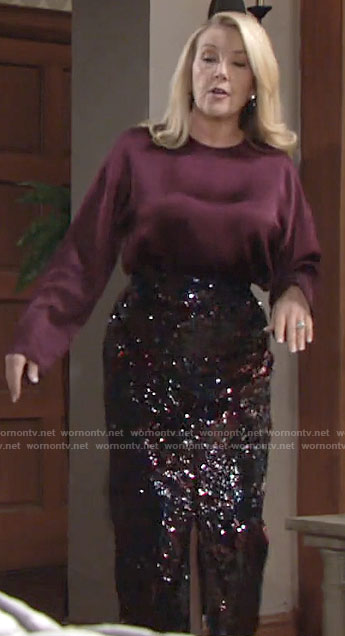 Nikki's sequin pencil skirt and burgundy blouse on The Young and the Restless