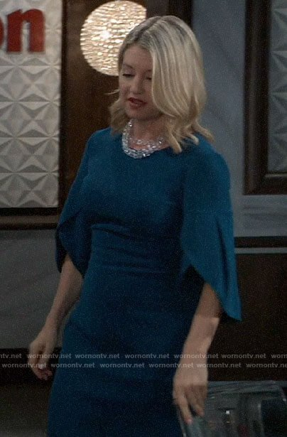 Nina's teal blue tulip sleeve dress on General Hospital