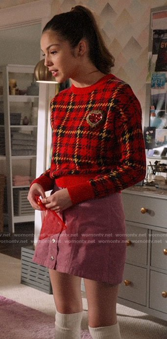 Nini's red plaid sweater and pink button front skirt on High School Musical The Musical The Series
