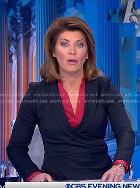 Norah's black buttoned wrap blazer on CBS Evening News