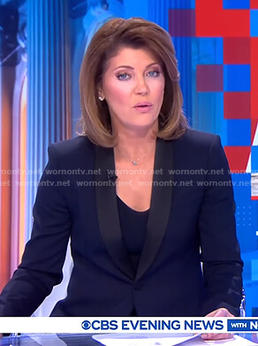 Nora's navy contrast blazer on CBS Evening News