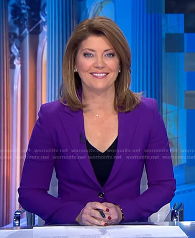 Norah's purple blazer on CBS Evening News