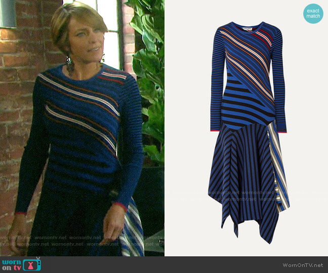 Opening Ceremony Asymmetric striped cotton-blend midi dress worn by Nicole Walker (Arianne Zucker) on Days of our Lives