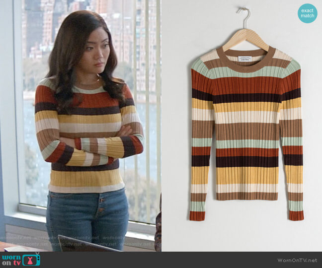 & Other Stories Fitted Striped Rib Top worn by Joy (Jessica Lu) on God Friended Me