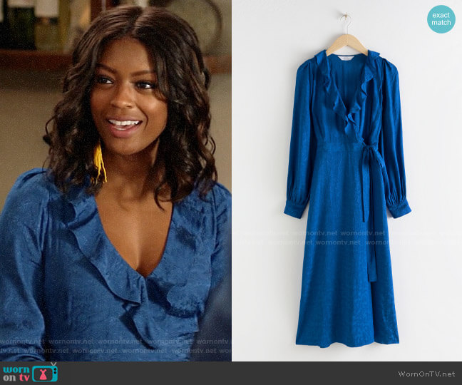 & Other Stories Ruffled Jacquard Midi Wrap Dress worn by Ali Finer (Javicia Leslie) on God Friended Me