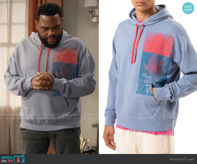 Ovadia Rose-Print Pullover Hoodie worn by Andre Johnson (Anthony Anderson) on Blackish