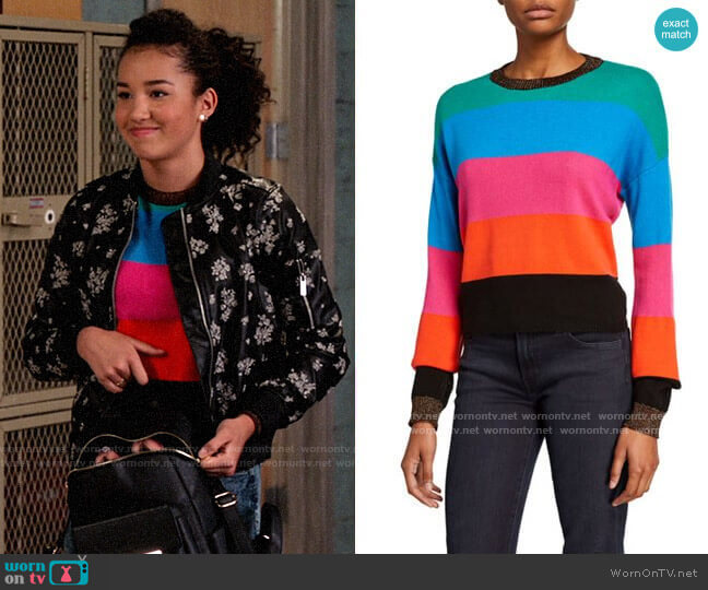 Pam & Gela Striped Sweater with Metallic Trim worn by Gina (Sofia Wylie) on High School Musical The Musical The Series