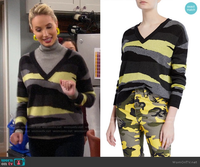 Pam & Gela Slouchy Camo-Print V-Neck Sweater worn by Mandy Baxter (Molly McCook) on Last Man Standing