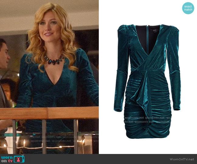 PatBO Velvet Ruched Mini Dress worn by Mia Smoak (Katherine McNamara) on Arrow