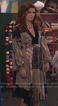 Grace's patchwork print dress on Will and Grace