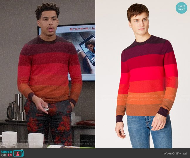 Paul Smith Tonal Stripe Crew Neck worn by Andre Johnson Jr (Marcus Scribner) on Blackish