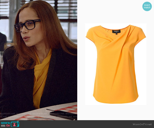 Paule Ka Draped Neckline Blouse worn by Amanda Doherty (Victoria Cartagena) on Almost Family