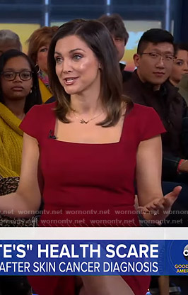 Paula's red cap sleeve sheath dress on Good Morning America