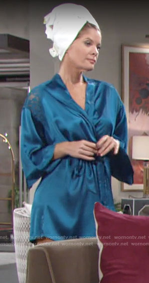 Phyllis's blue satin and lace robe on The Young and the Restless