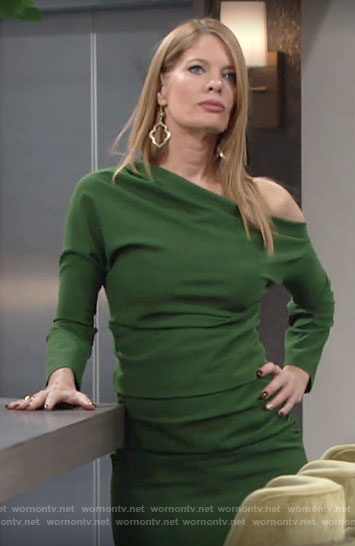 Phyllis's green off-shoulder dress on The Young and the Restless