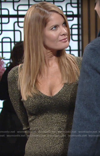 Phyllis's metallic long sleeve v-neck dress on The Young and the Restless