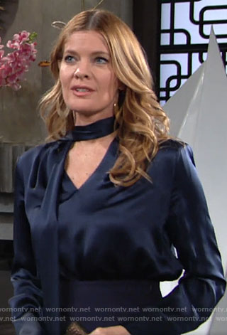 Phyllis's navy blue fringed tie neck blouse on The Young and the Restless