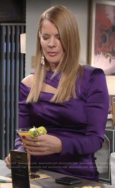 Phyllis's purple long sleeve dress with cutout on The Young and the Restless