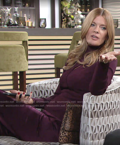 Phyllis's purple cutout top and satin pants on The Young and the Restless