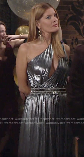 Phyllis's silver one-shoulder NYE dress on The Young and the Restless