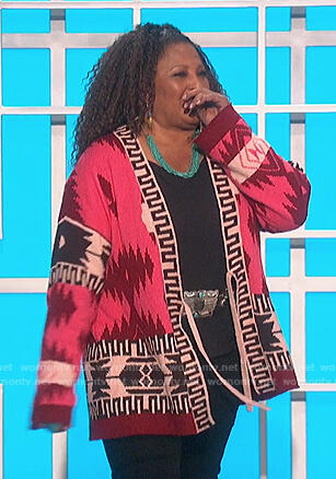 Pam Grier's pink aztec print cardigan on The Talk