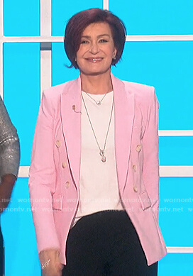 Sharon's pink double breasted blazer on The Talk