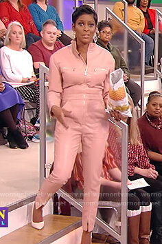 Tamron's pink leather jumpsuit on Tamron Hall Show