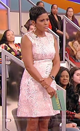 Tamron's metallic pink jacquard dress on Tamron Hall Show