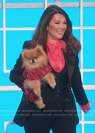 Lisa Vanderpump's pink sheer tie neck blouse on The Talk