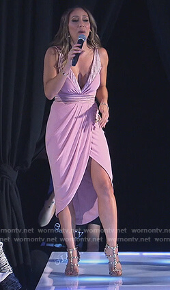 Melissa's pink plunging dress with ring detail on The Real Housewives of New Jersey