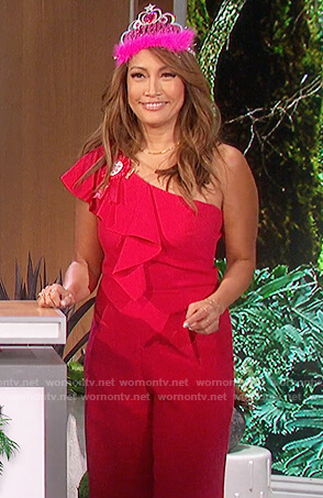 Carrie's red ruffle jumpsuit on The Talk