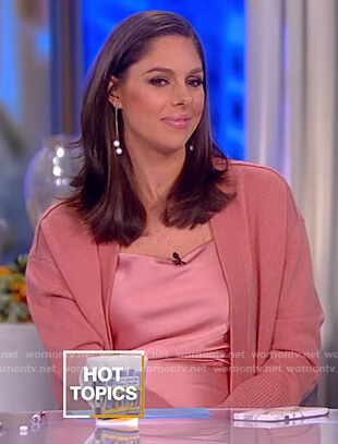Abby's pink satin top and cardigan on The View