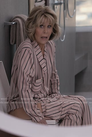 Grace's pink stripe pajamas on Grace and Frankie