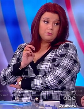 Ana's black and white plaid sweater dress on The View