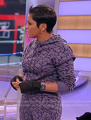 Tamron's blue printed hoodie and sweat pants on Tamron Hall Show