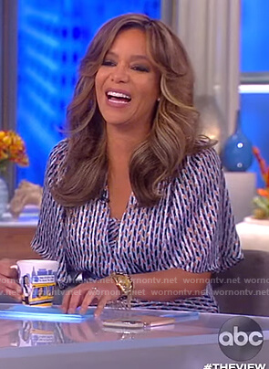 Sunny's metallic print dress on The View