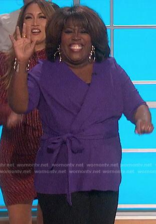 Sheryl's purple tie waist top on The Talk