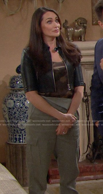 Quinn's camo top, cropped leather jacket and green cargo pants on The Bold and the Beautiful