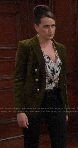 Quinn's floral blouse and green velvet blazer on The Bold and the Beautiful